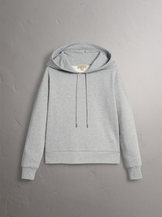 Embroidered Hood Fleece-back Jersey Sweatshirt in Pale Grey Melange - Women | Burberry United Kingdom - cell image 3