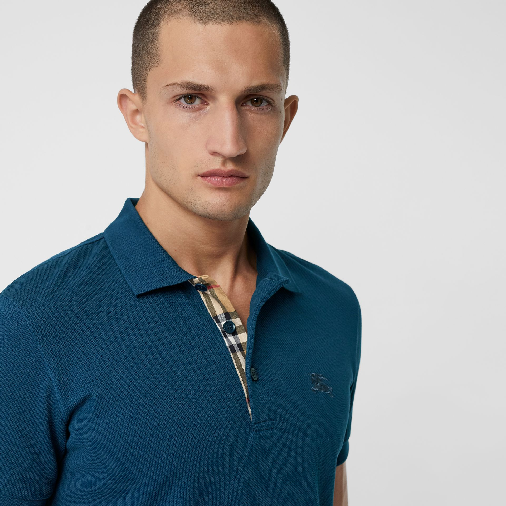 Check Placket Cotton Piqué Polo Shirt in Deep Teal Blue - Men | Burberry - gallery image 1