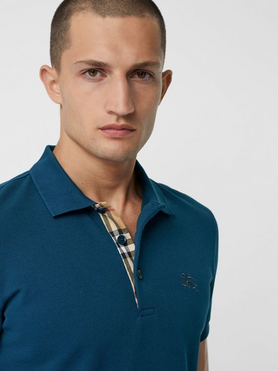 Check Placket Cotton Piqué Polo Shirt in Deep Teal Blue