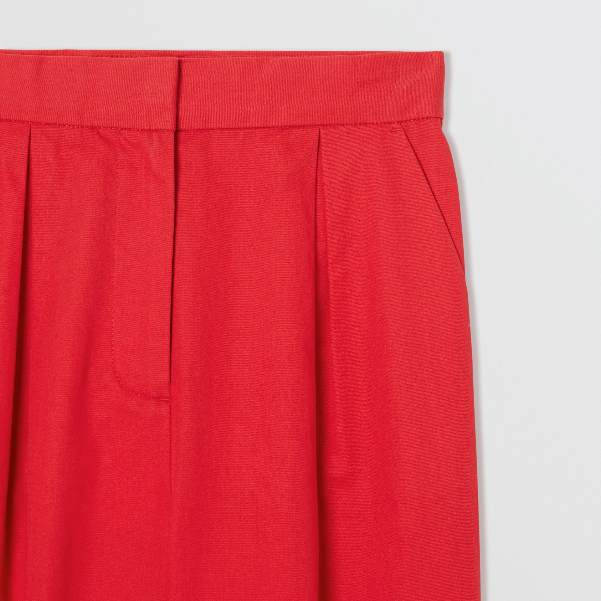 Cotton Twill Tapered Trousers in Bright Red | Burberry Australia - gallery image 1