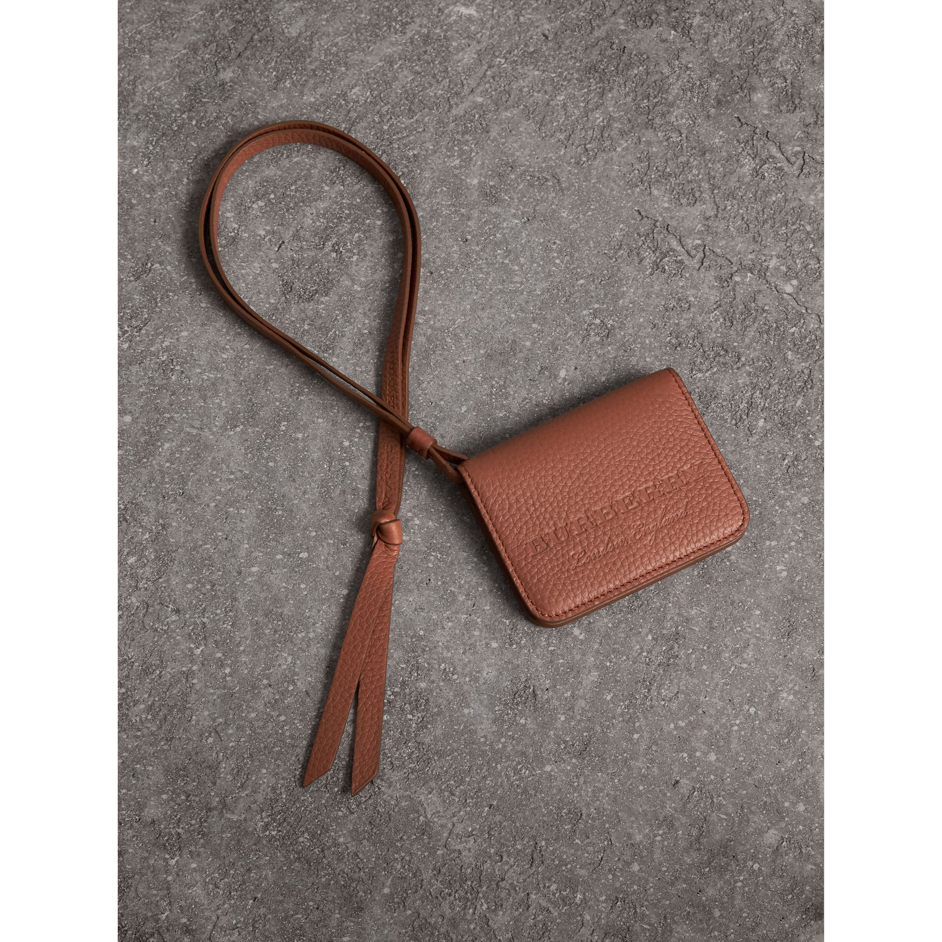 Embossed Leather ID Card Case Charm in Chestnut Brown - Women | Burberry - gallery image 0