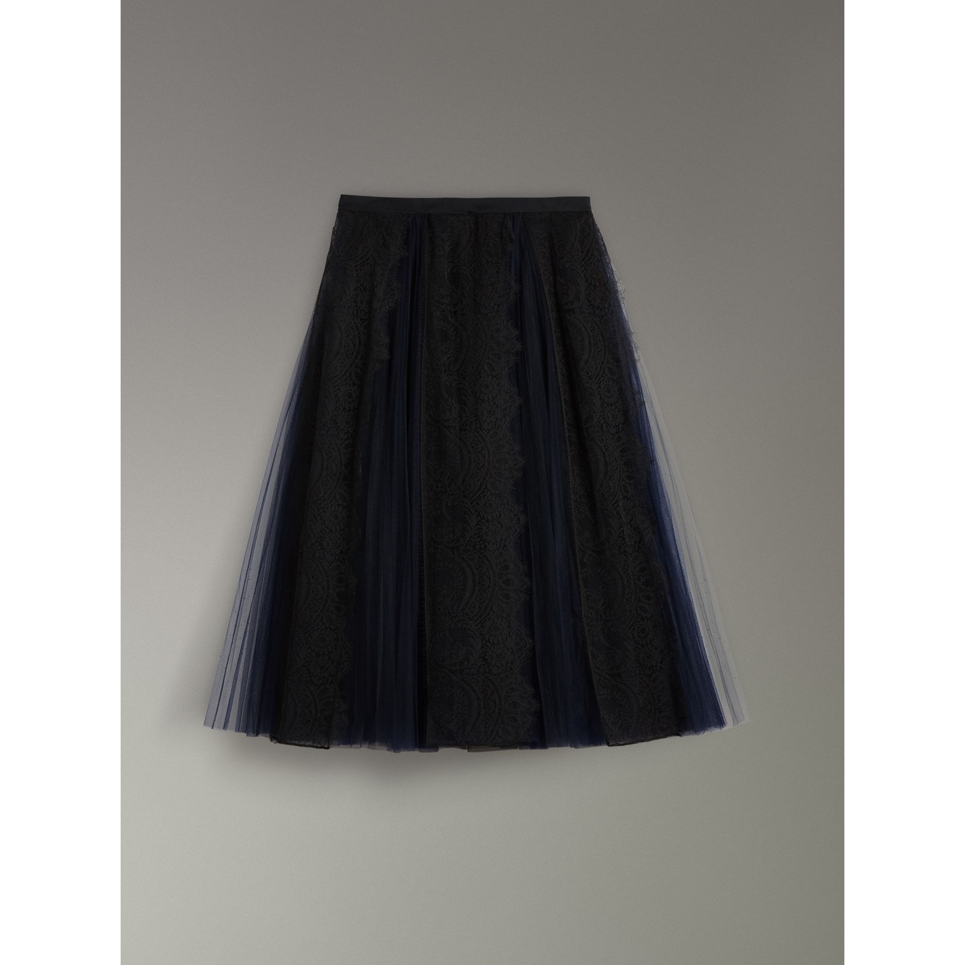 Lace Panel Pleated Tulle Skirt in Navy - Women | Burberry - gallery image 3