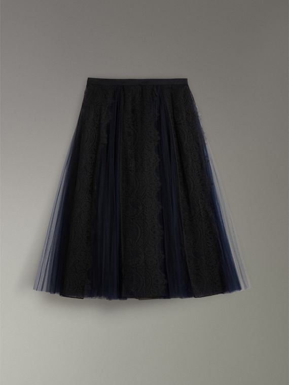 Lace Panel Pleated Tulle Skirt in Navy - Women | Burberry Australia - cell image 3