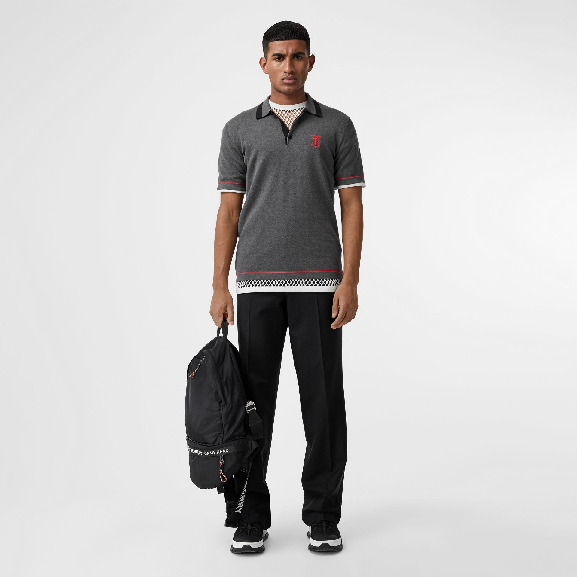 Monogram Motif Tipped Cotton Polo Shirt in Dark Grey Melange - Men | Burberry - gallery image 0