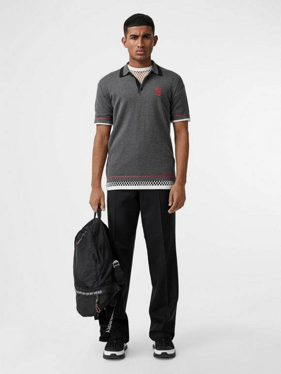 Monogram Motif Tipped Cotton Polo Shirt in Dark Grey Melange