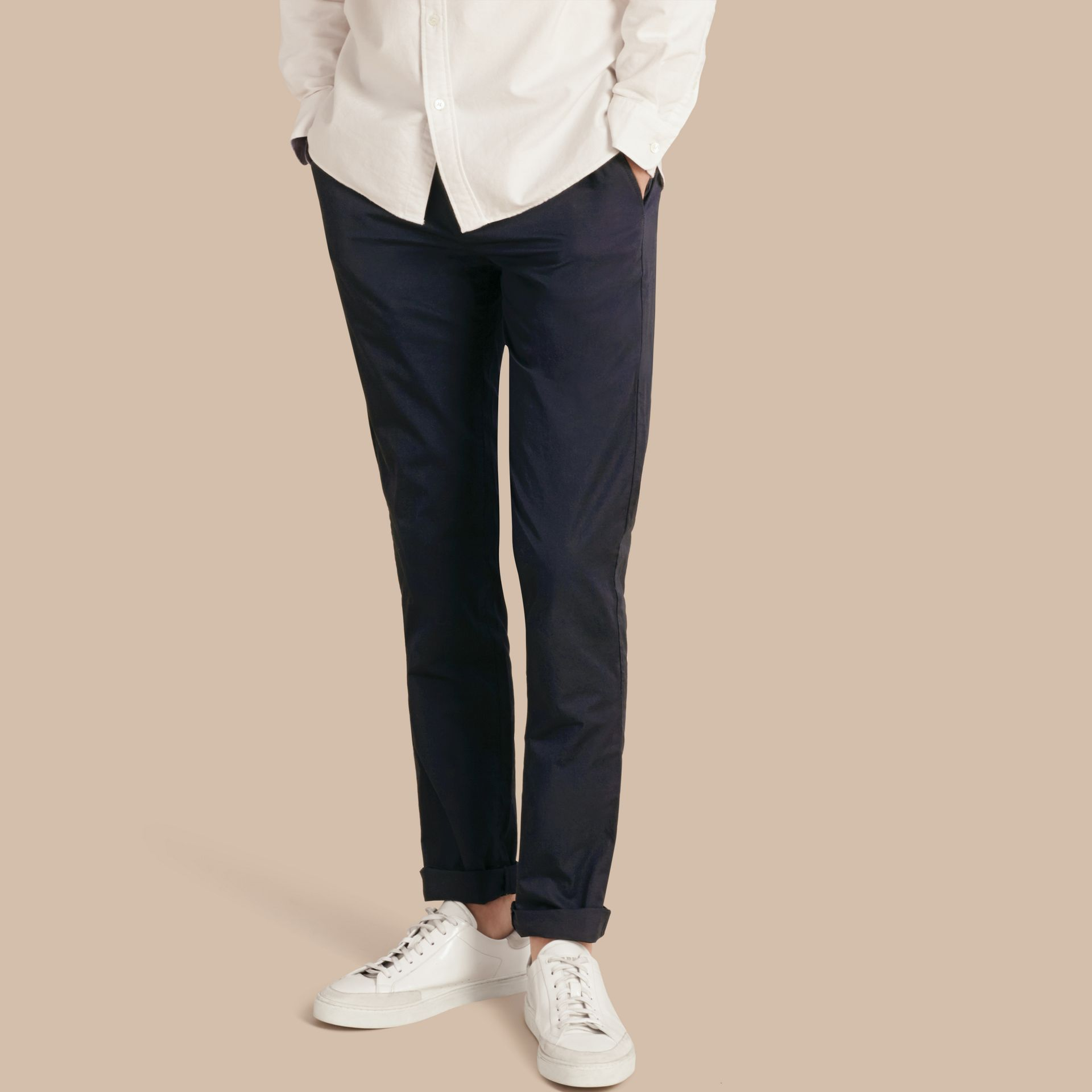 Slim Fit Cotton Chinos in Ink - Men | Burberry - gallery image 1