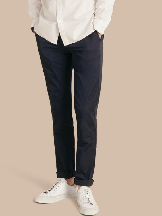 Slim Fit Cotton Chinos in Ink - Men | Burberry
