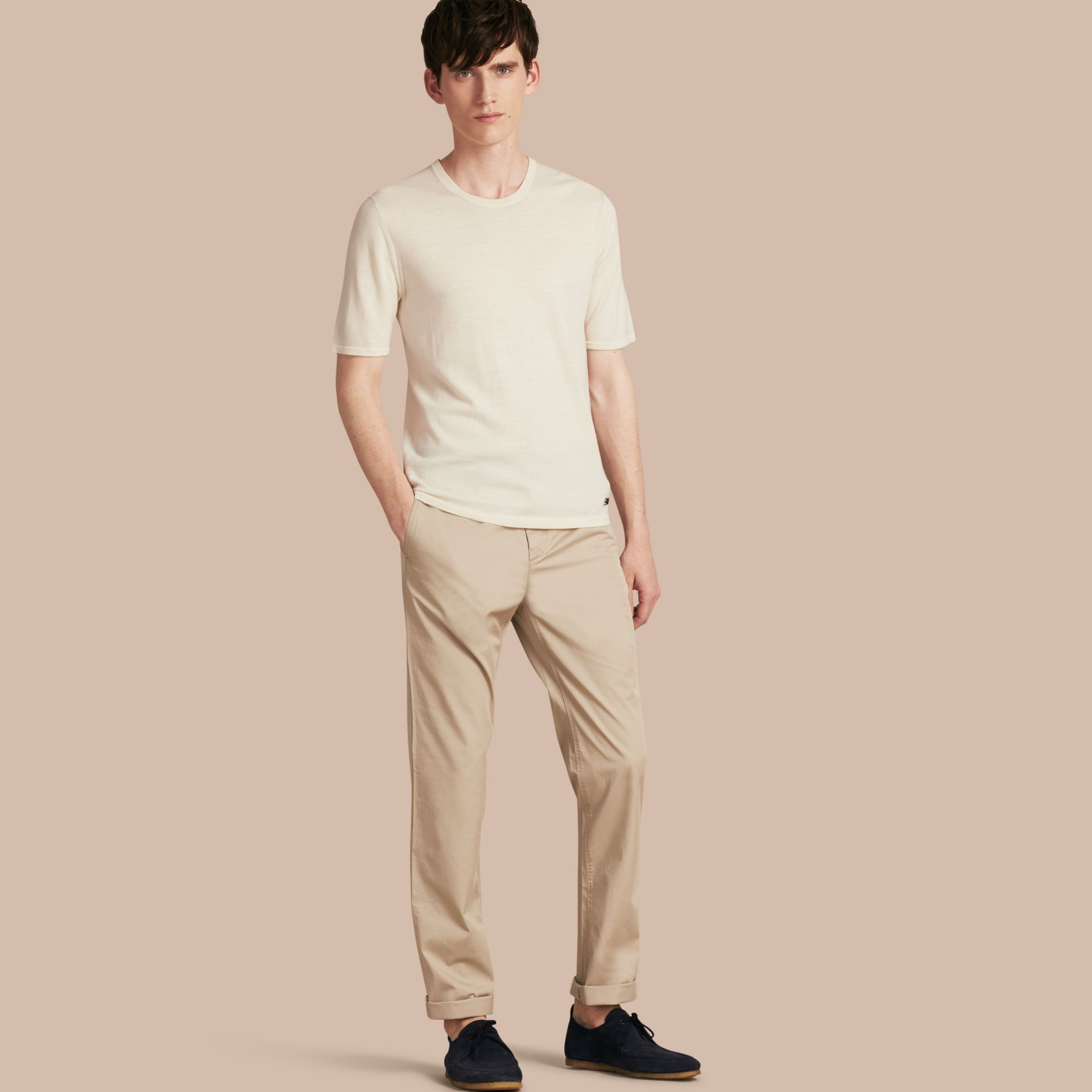 Straight Fit Cotton Chinos Taupe - gallery image 1