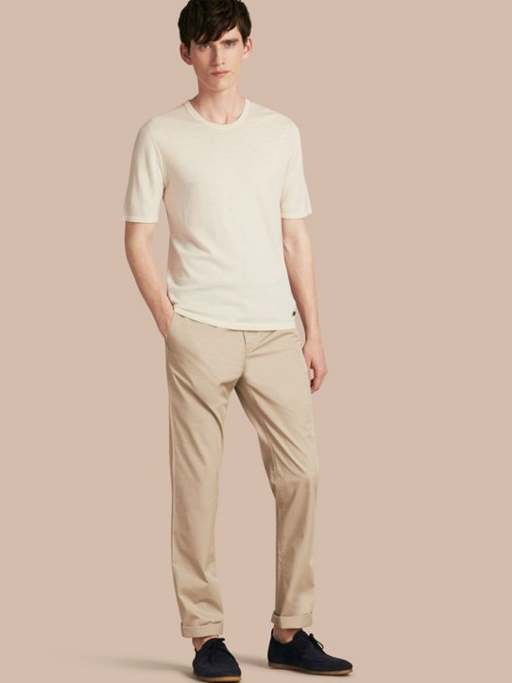 Straight Fit Cotton Chinos Taupe