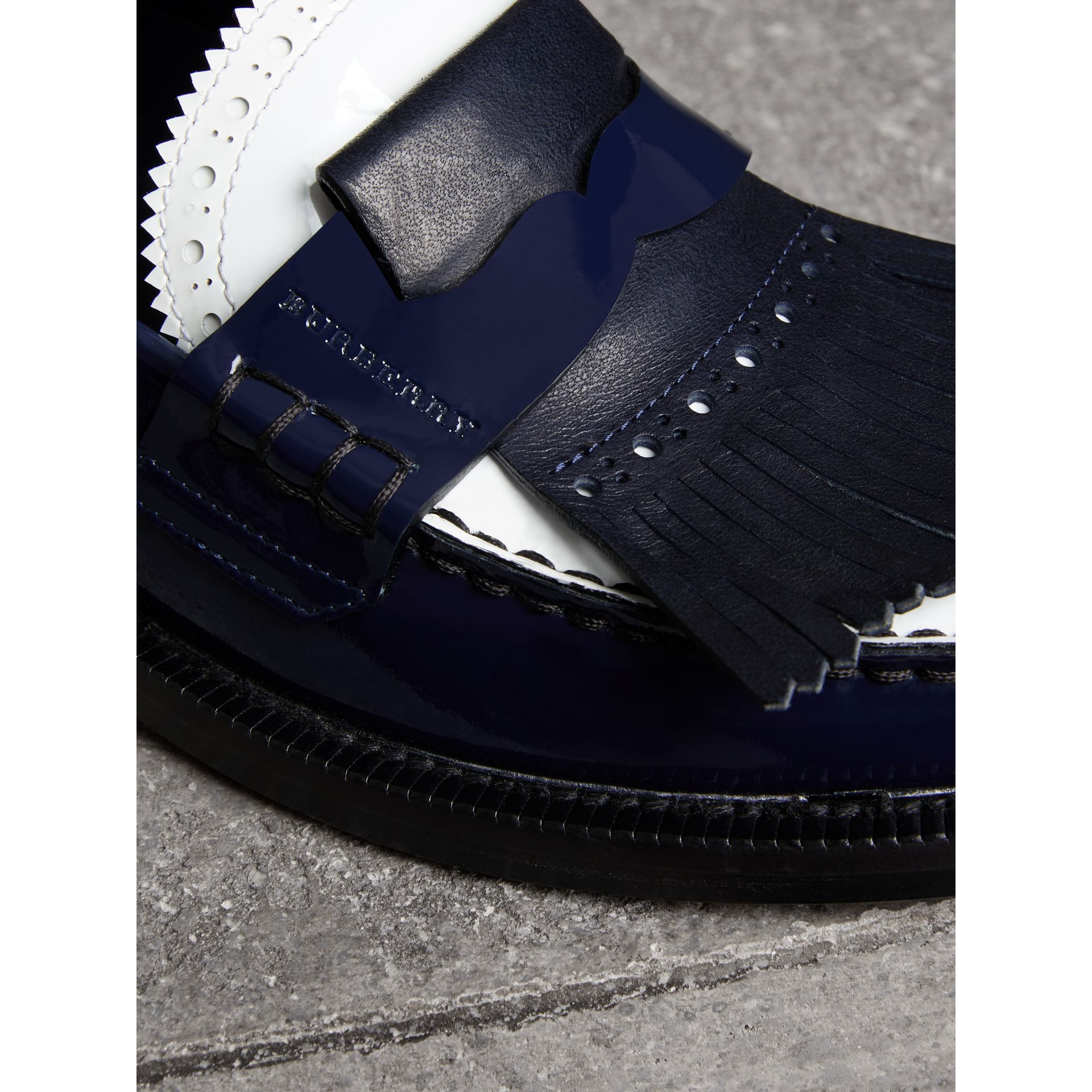 Tri-tone Kiltie Fringe Leather Loafers in Navy - Women | Burberry - gallery image 1