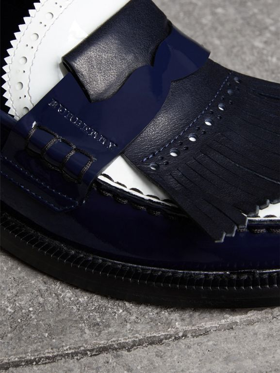 Tri-tone Kiltie Fringe Leather Loafers in Navy - Women | Burberry United Kingdom - cell image 1