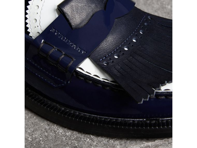Tri-tone Kiltie Fringe Leather Loafers in Navy - Women | Burberry - cell image 1