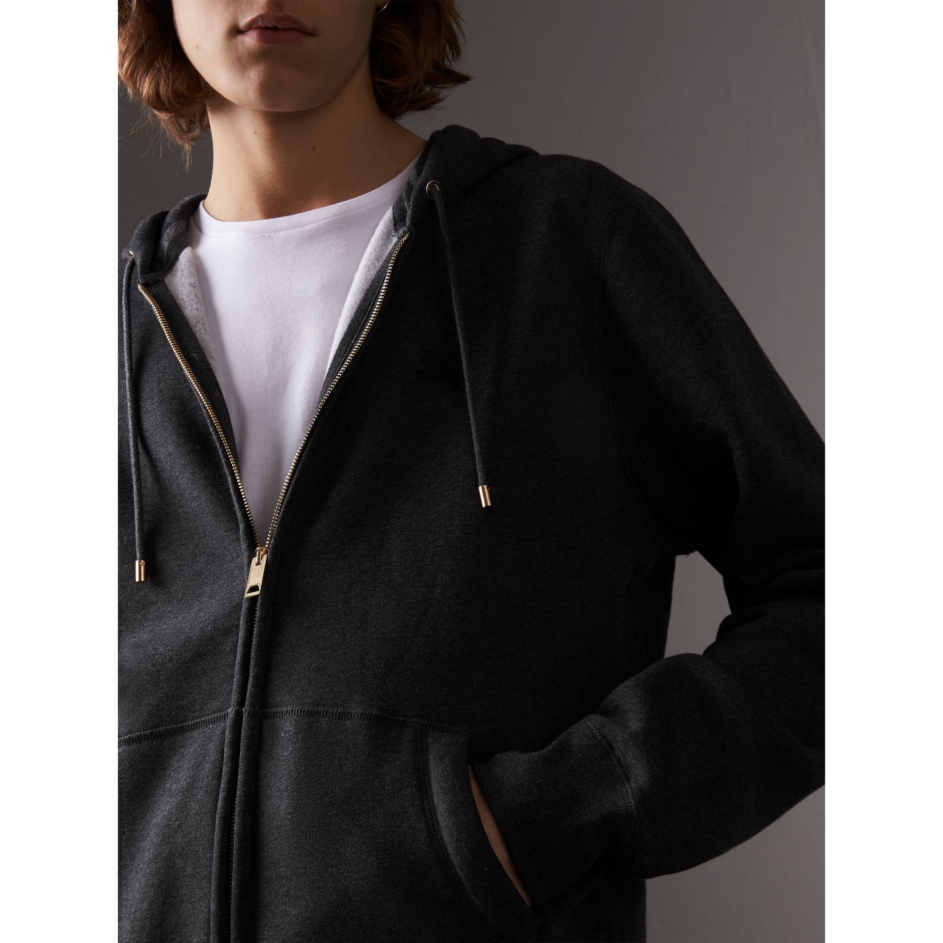 Hooded Cotton Jersey Top in Charcoal Melange - Men | Burberry Australia - gallery image 1