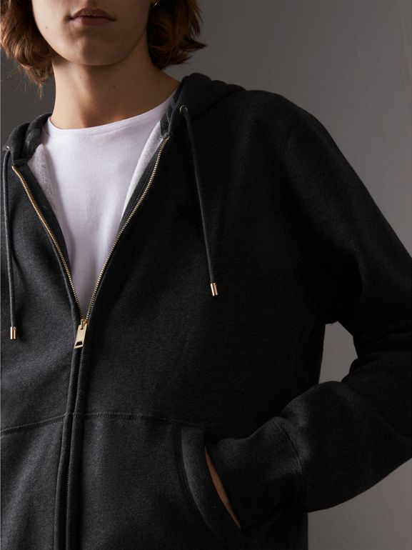 Hooded Cotton Jersey Top in Charcoal Melange - Men | Burberry Australia - cell image 1