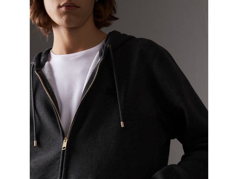 Hooded Cotton Jersey Top in Charcoal Melange - Men | Burberry United Kingdom - cell image 1