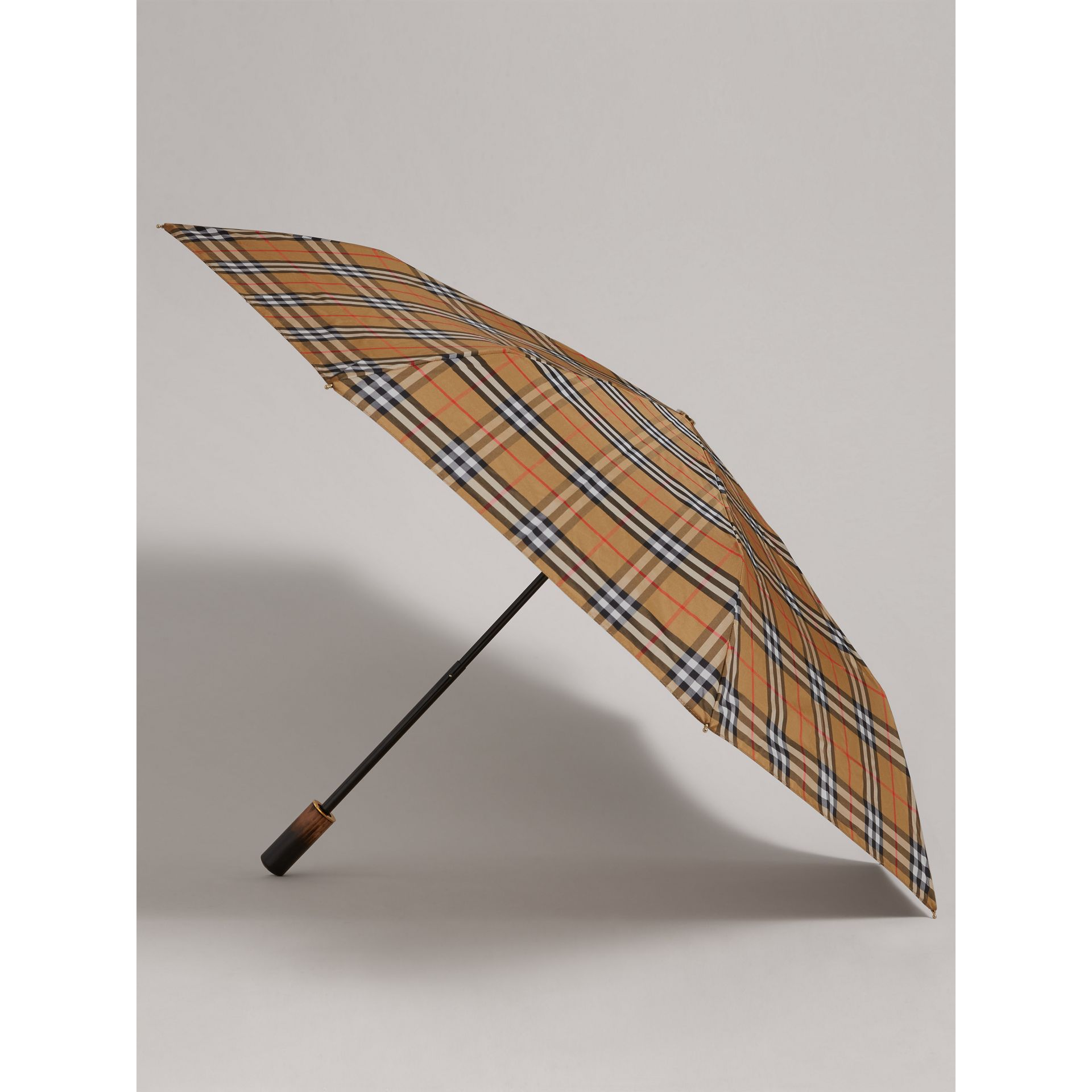 Vintage Check Folding Umbrella in Antique Yellow | Burberry Canada - gallery image 3