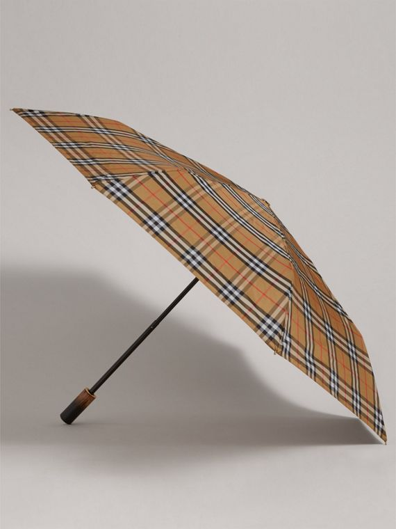 Vintage Check Folding Umbrella in Antique Yellow | Burberry Canada - cell image 3