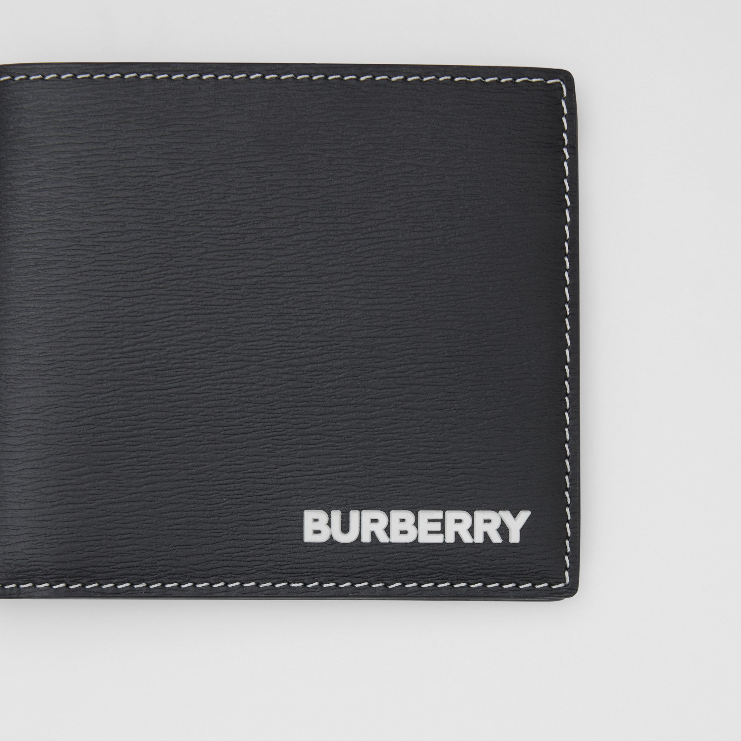 Topstitched Grainy Leather International Bifold Wallet in Black - Men | Burberry - 2
