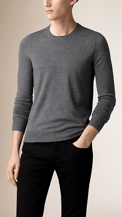 Mid grey mel Check Elbow Patch Sweater - Image 1