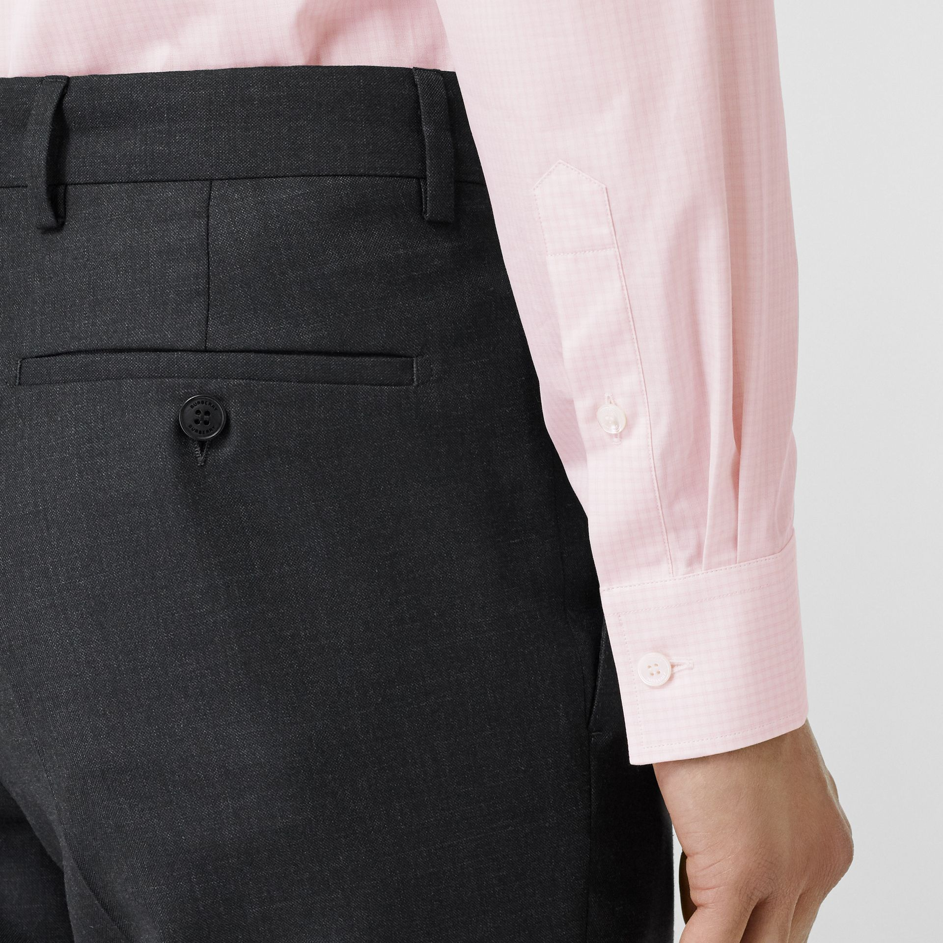 Slim Fit Micro Check Cotton Poplin Shirt in Alabaster Pink - Men | Burberry - gallery image 5