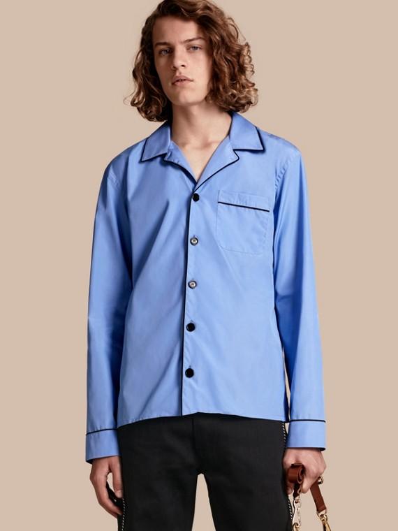 Camisa estilo pijama de popeline de algodão