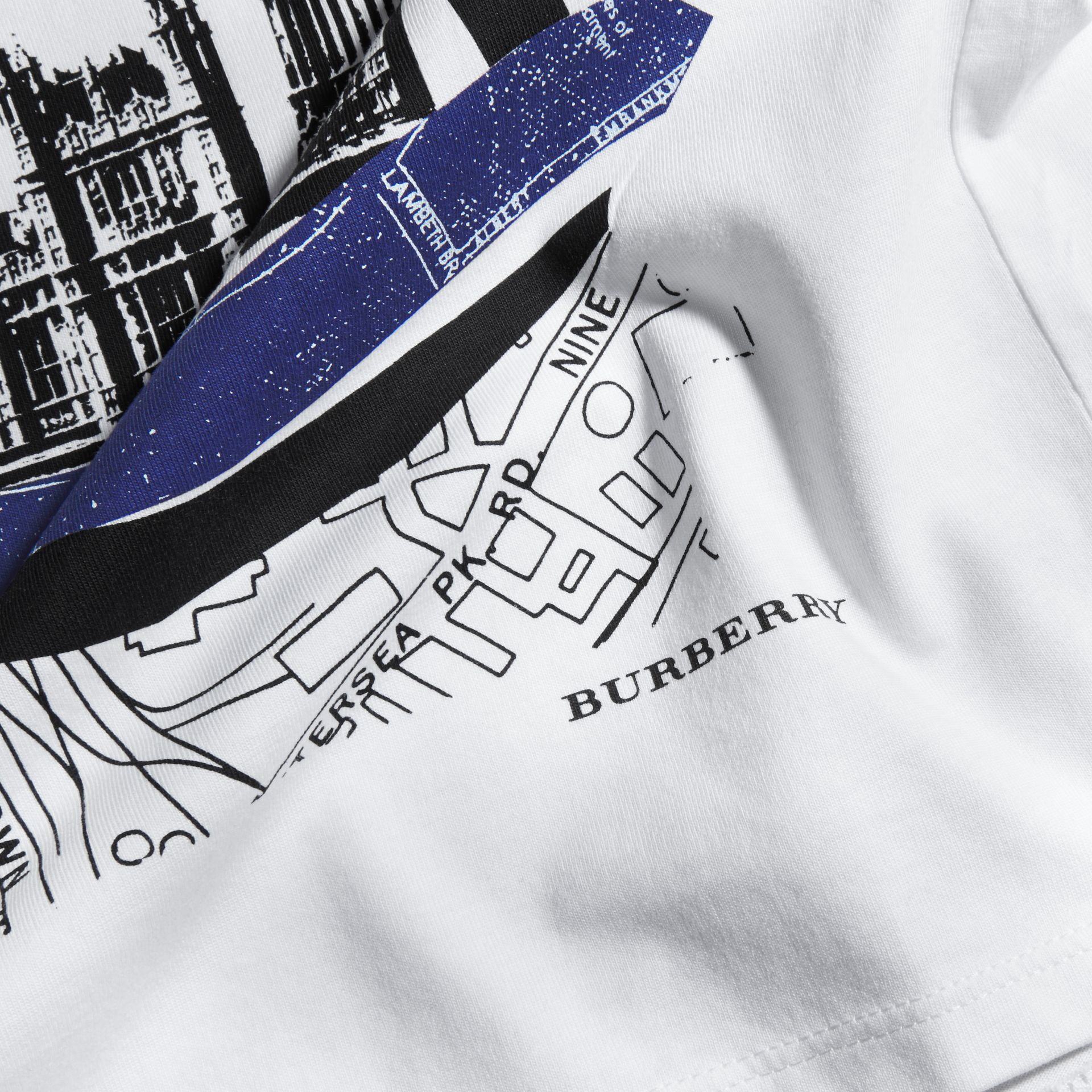 White Big Ben Print Cotton T-shirt - gallery image 2