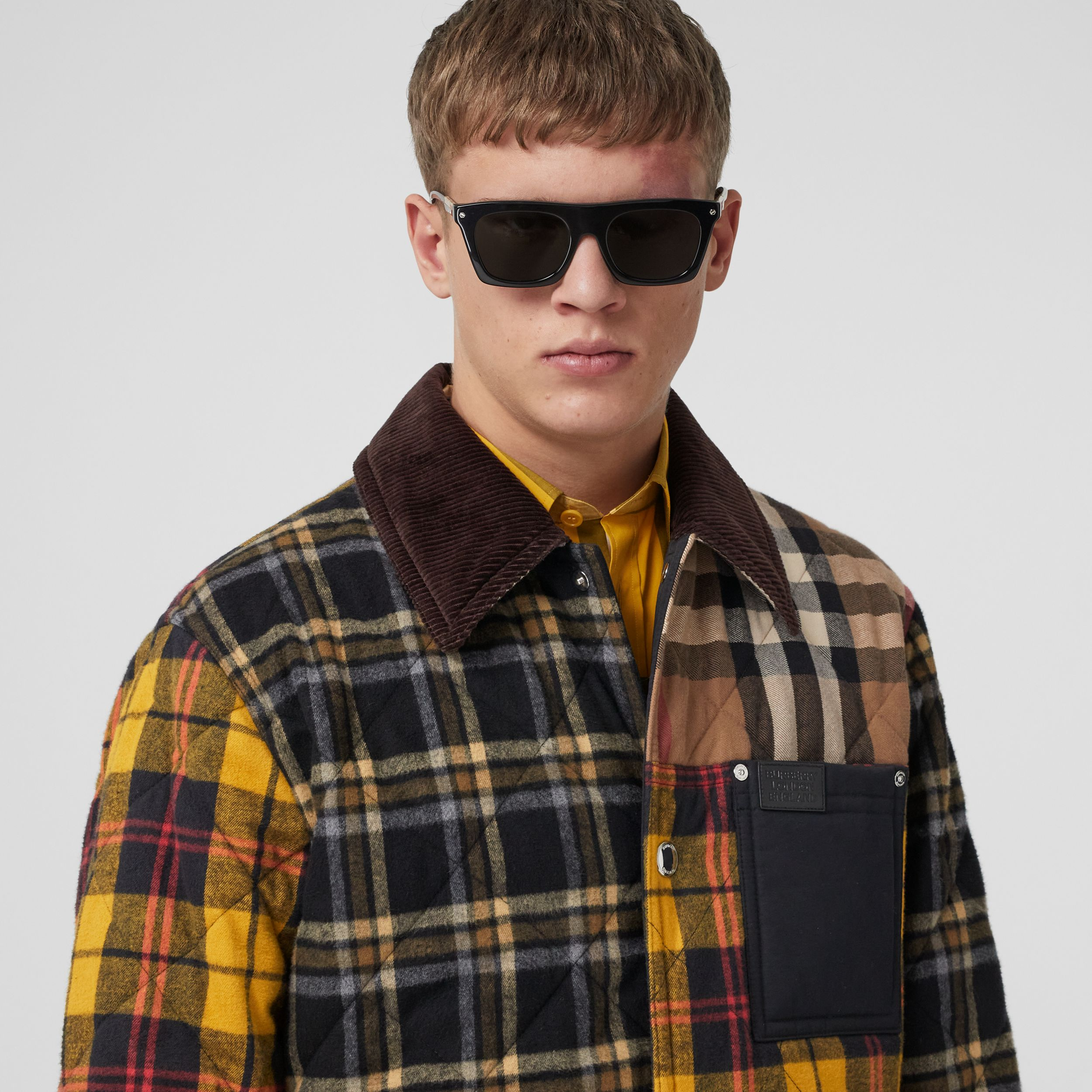 Corduroy Collar Patchwork Check Cotton Overshirt in Birch Brown - Men | Burberry United Kingdom - 2