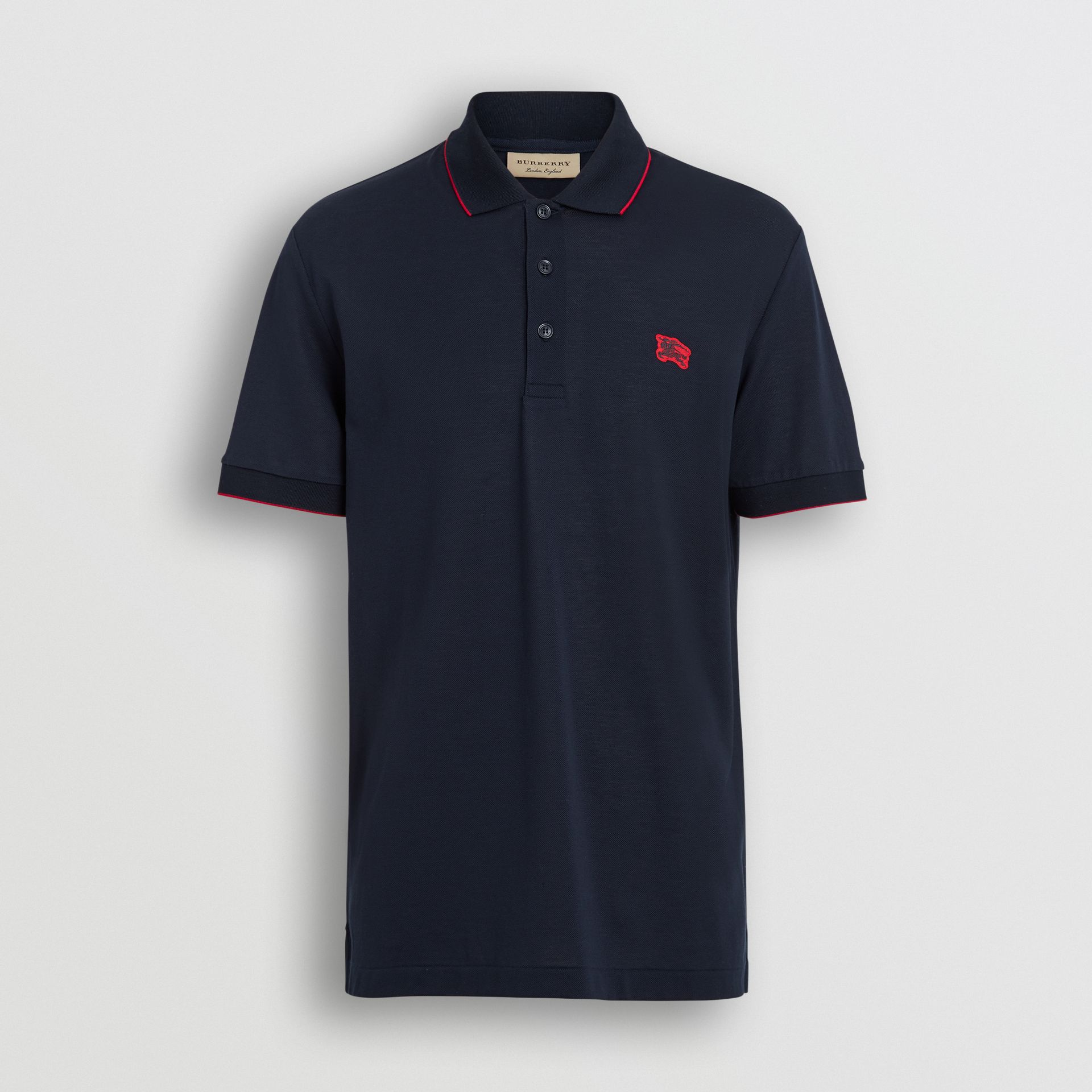 Tipped Cotton Piqué Polo Shirt in Navy - Men | Burberry - gallery image 3