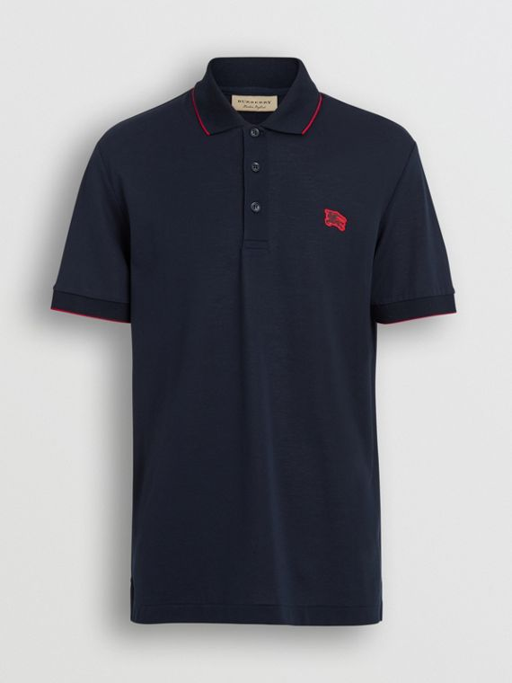 Tipped Cotton Piqué Polo Shirt in Navy
