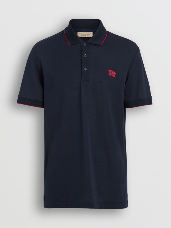 Tipped Cotton Piqué Polo Shirt in Navy - Men | Burberry - cell image 3
