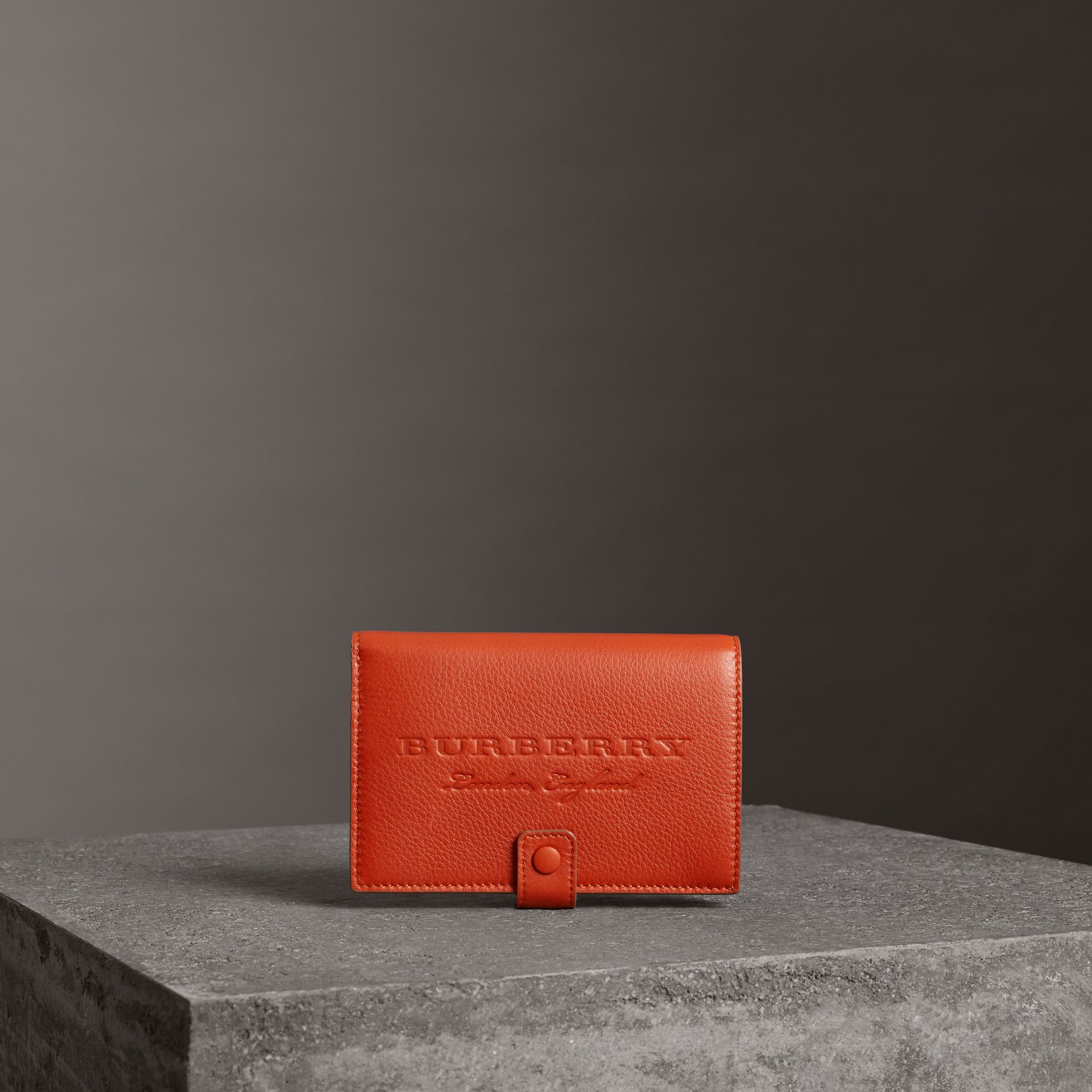 Embossed Grainy Leather Folding Wallet in Dark Clementine | Burberry - gallery image 4