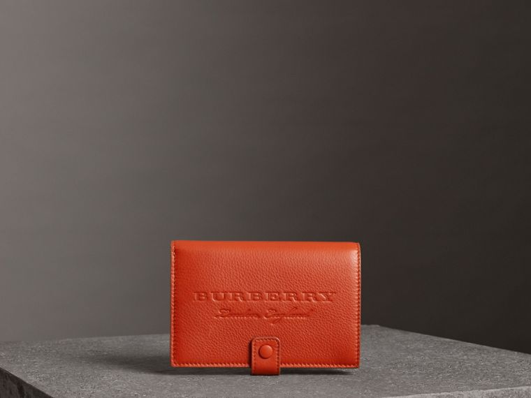 Embossed Grainy Leather Folding Wallet in Dark Clementine | Burberry - cell image 4