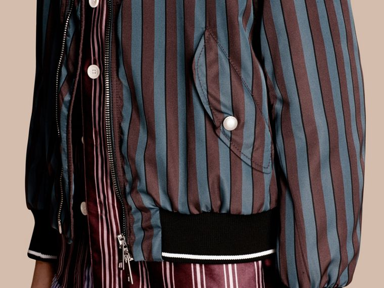 Navy Stripe Print Technical Bomber Jacket - cell image 4