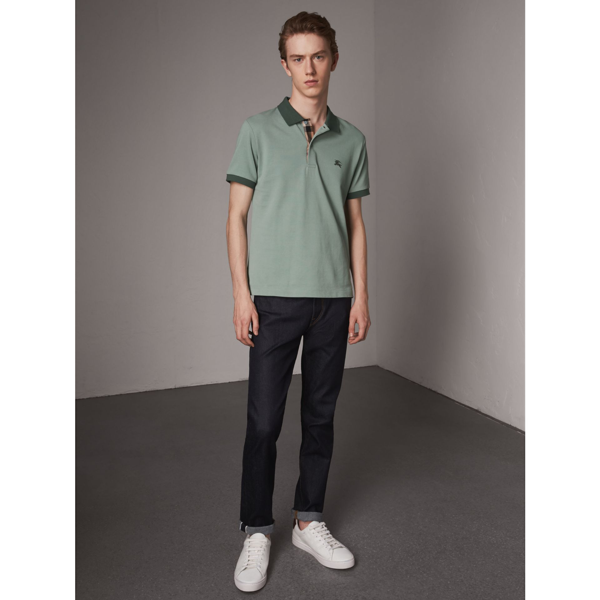 Cotton Piqué Polo Shirt in Eucalyptus Green - Men | Burberry - gallery image 0