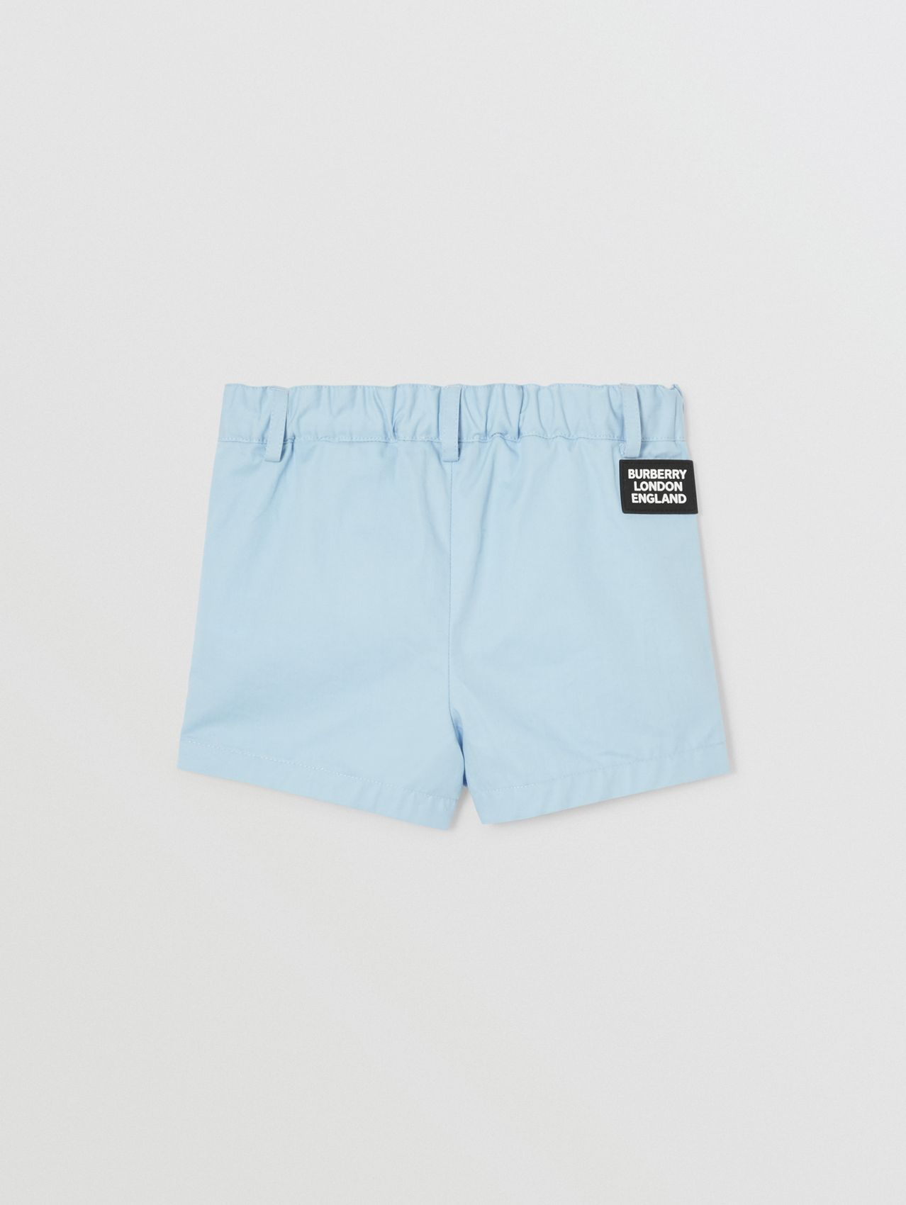 Logo Appliqué Cotton Twill Tailored Shorts in Pale Blue