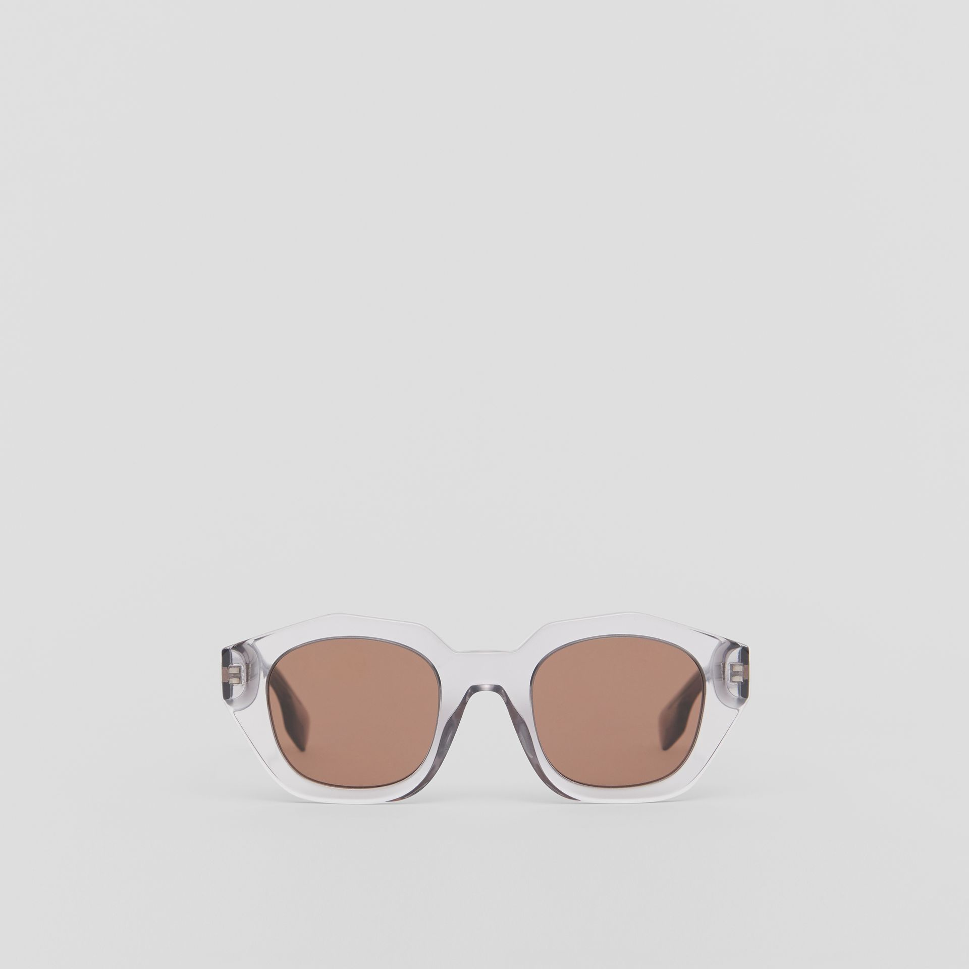 Geometric Frame Sunglasses in Grey - Women | Burberry United Kingdom - gallery image 0