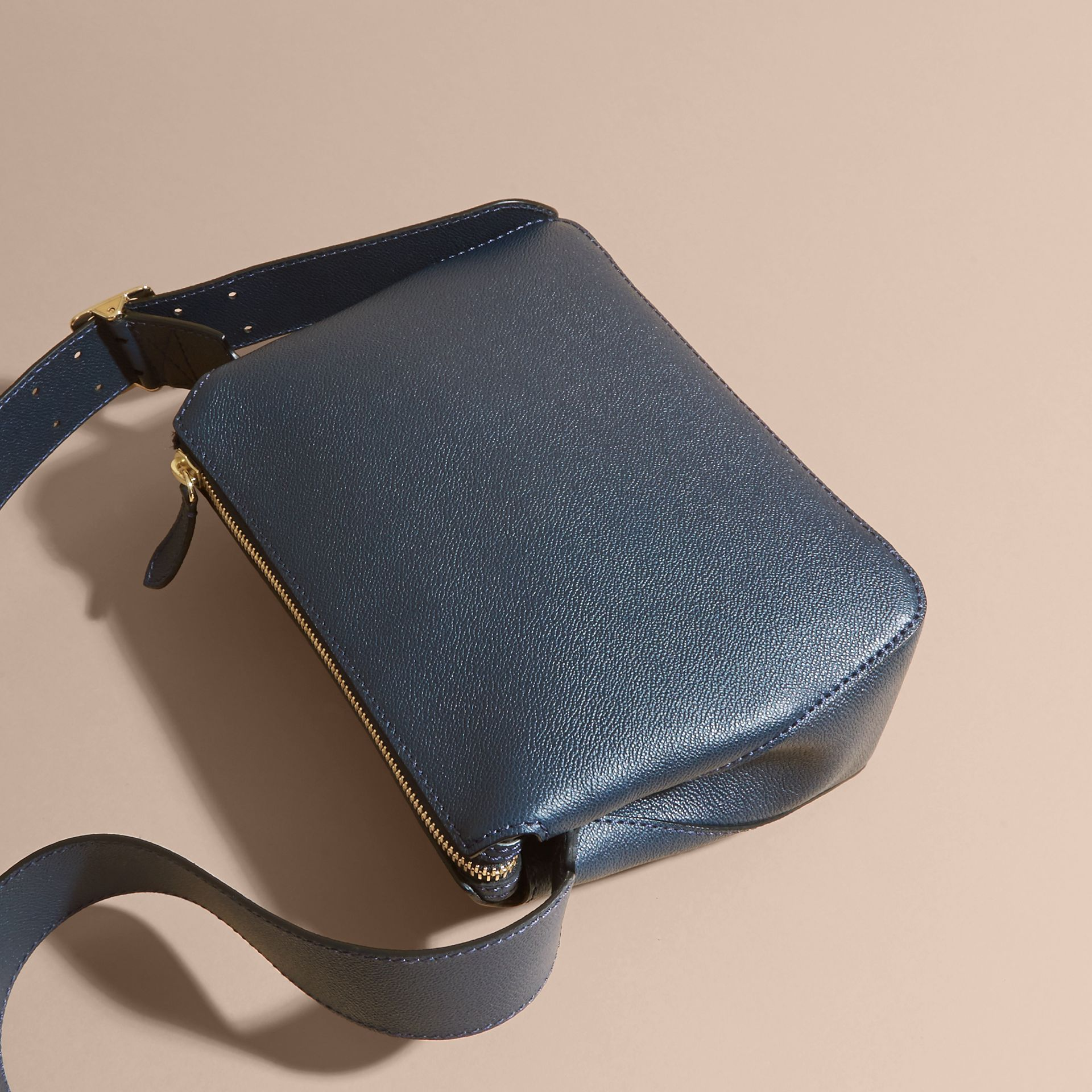 Buckle Detail Leather Crossbody Bag in Blue Carbon - gallery image 4