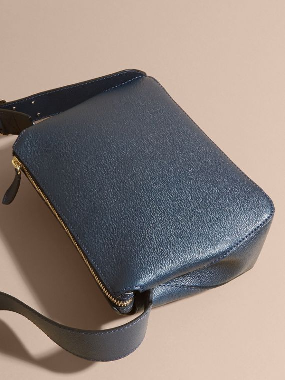 Buckle Detail Leather Crossbody Bag in Blue Carbon - cell image 3