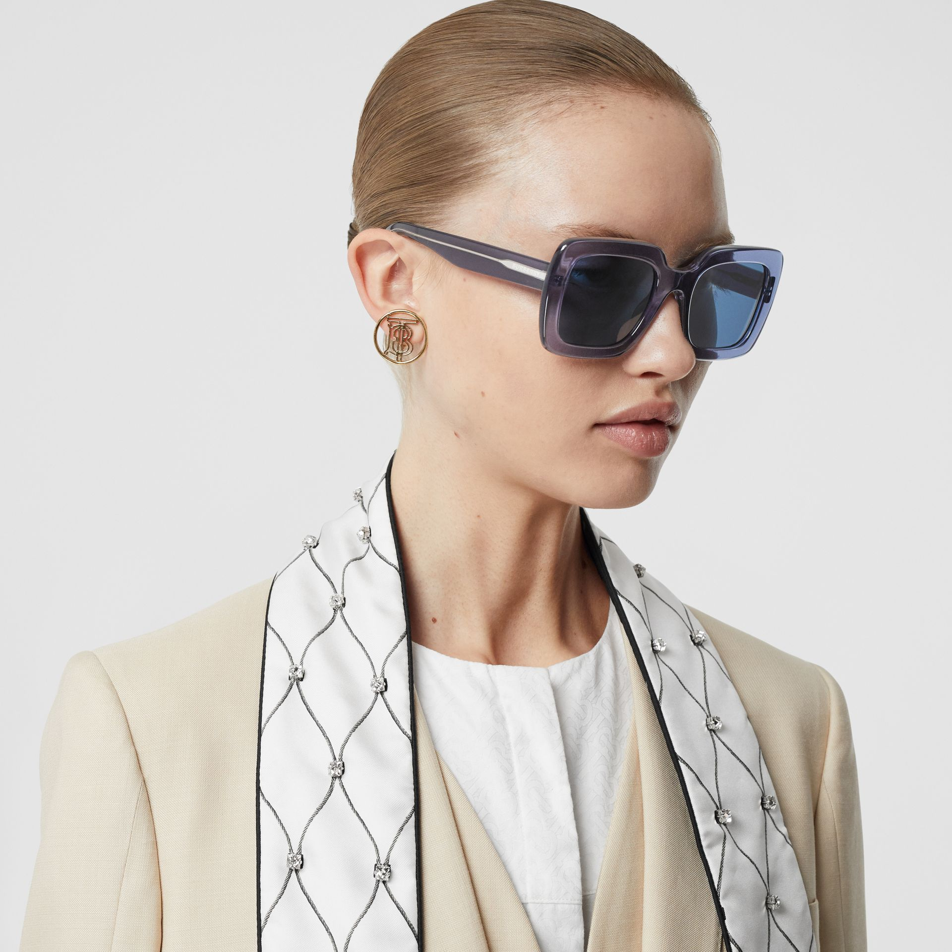 Oversized Square Frame Sunglasses in Blue - Women | Burberry - gallery image 2