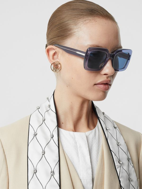 Oversized Square Frame Sunglasses in Blue - Women | Burberry - cell image 2