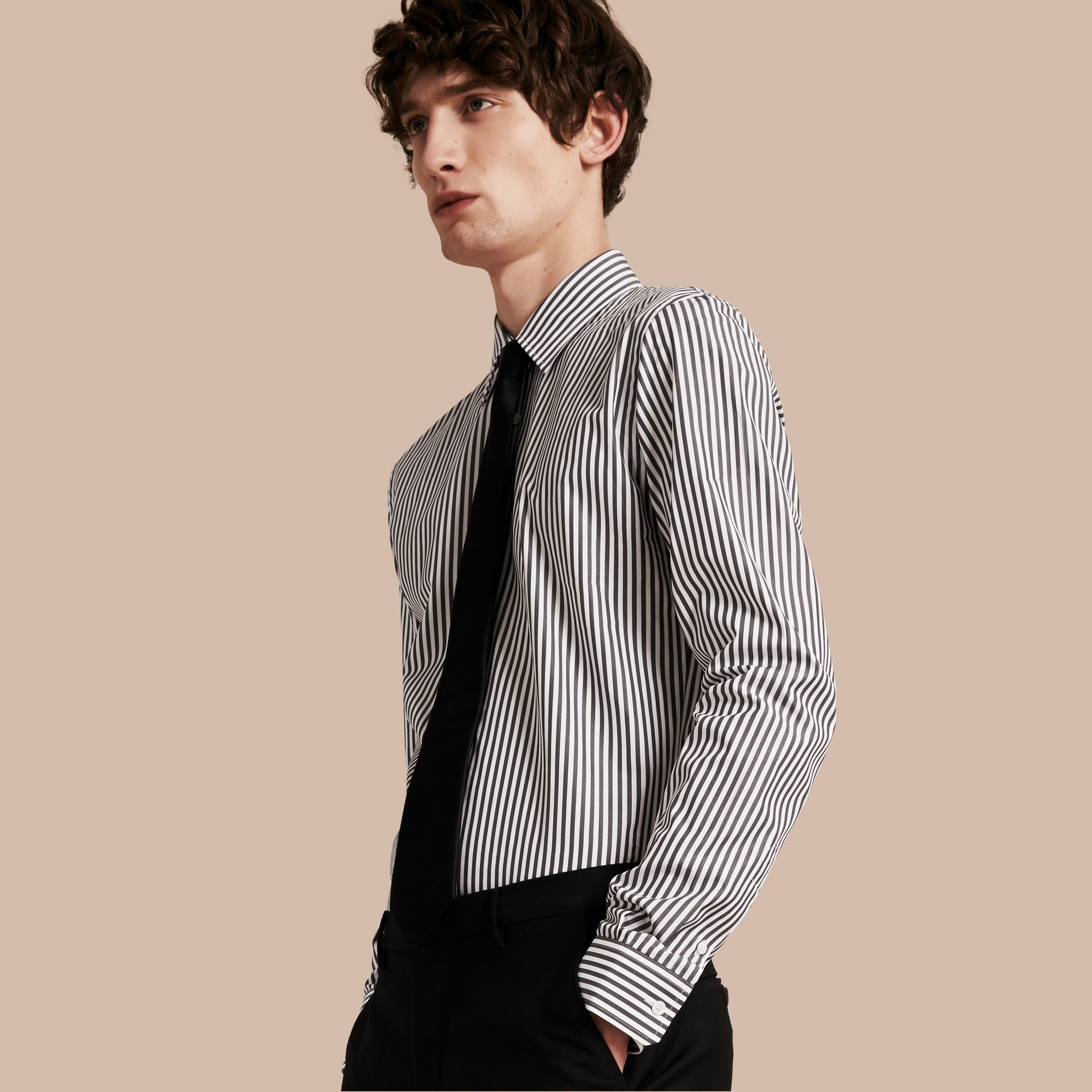 Charcoal Slim Fit Striped Cotton Poplin Shirt Charcoal - gallery image 1