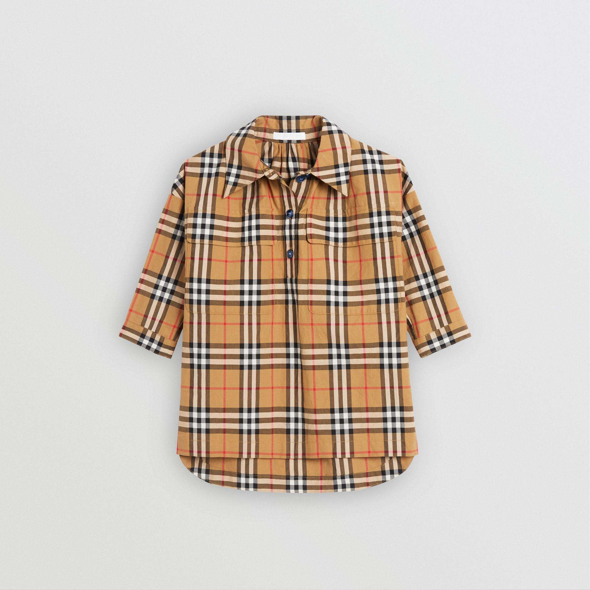 Vintage Check Shirt Dress in Antique Yellow | Burberry - gallery image 0