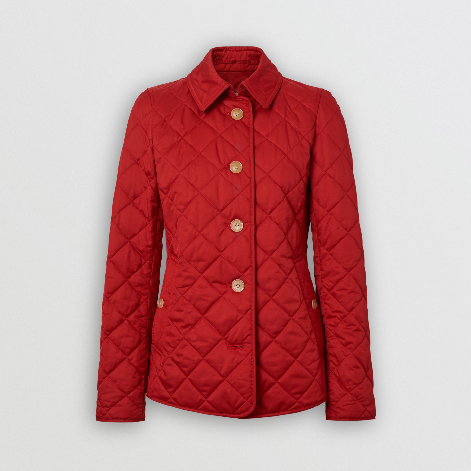 Diamond Quilted Jacket in Military Red - Women | Burberry United Kingdom - gallery image 3