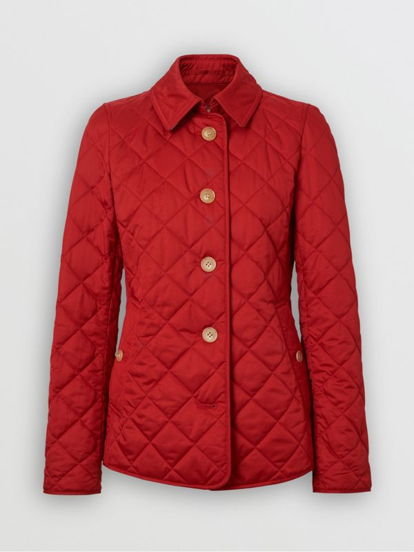 Diamond Quilted Jacket in Military Red - Women | Burberry United Kingdom - cell image 3