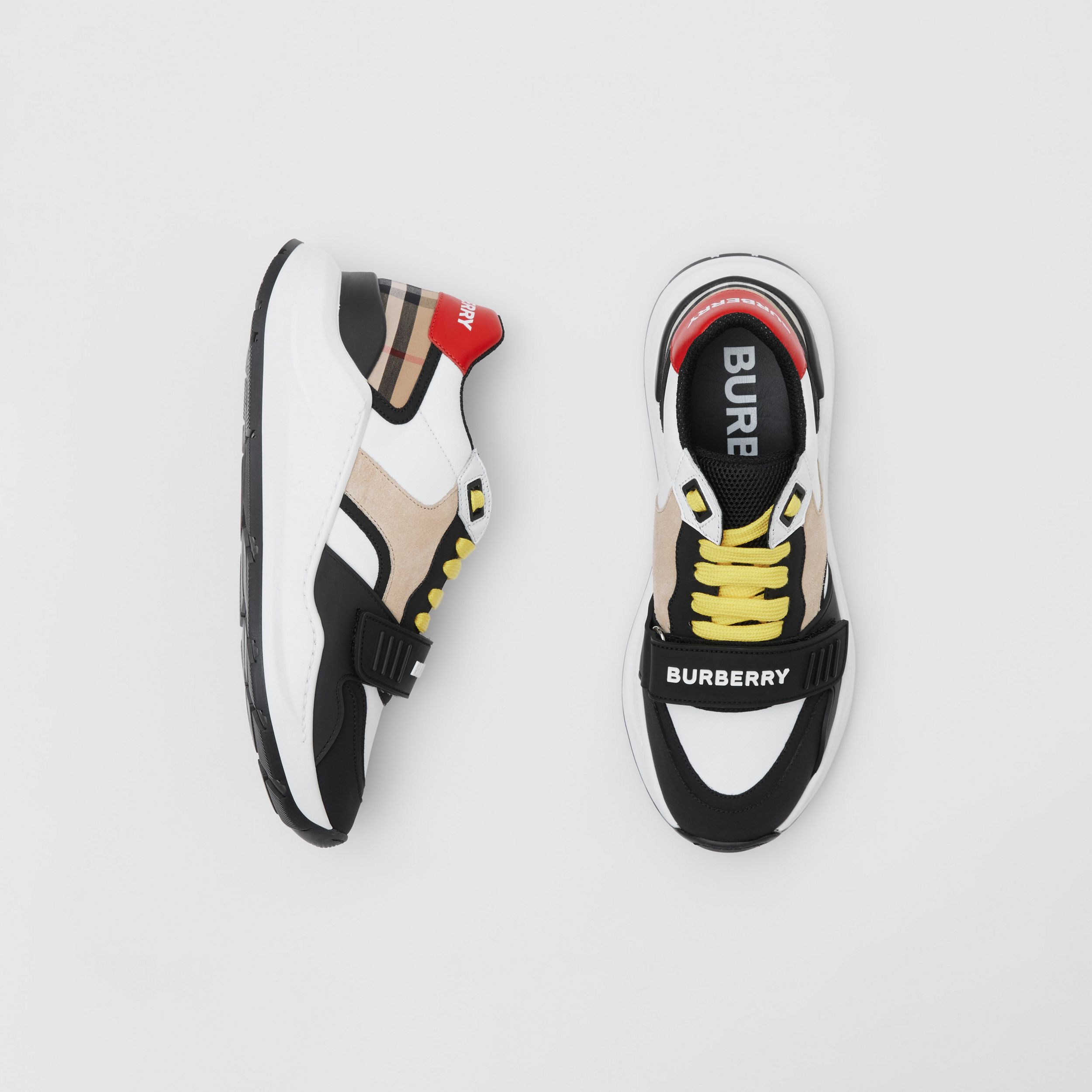 Nylon, Suede and Vintage Check Sneakers in Archive Beige - Women | Burberry - 1