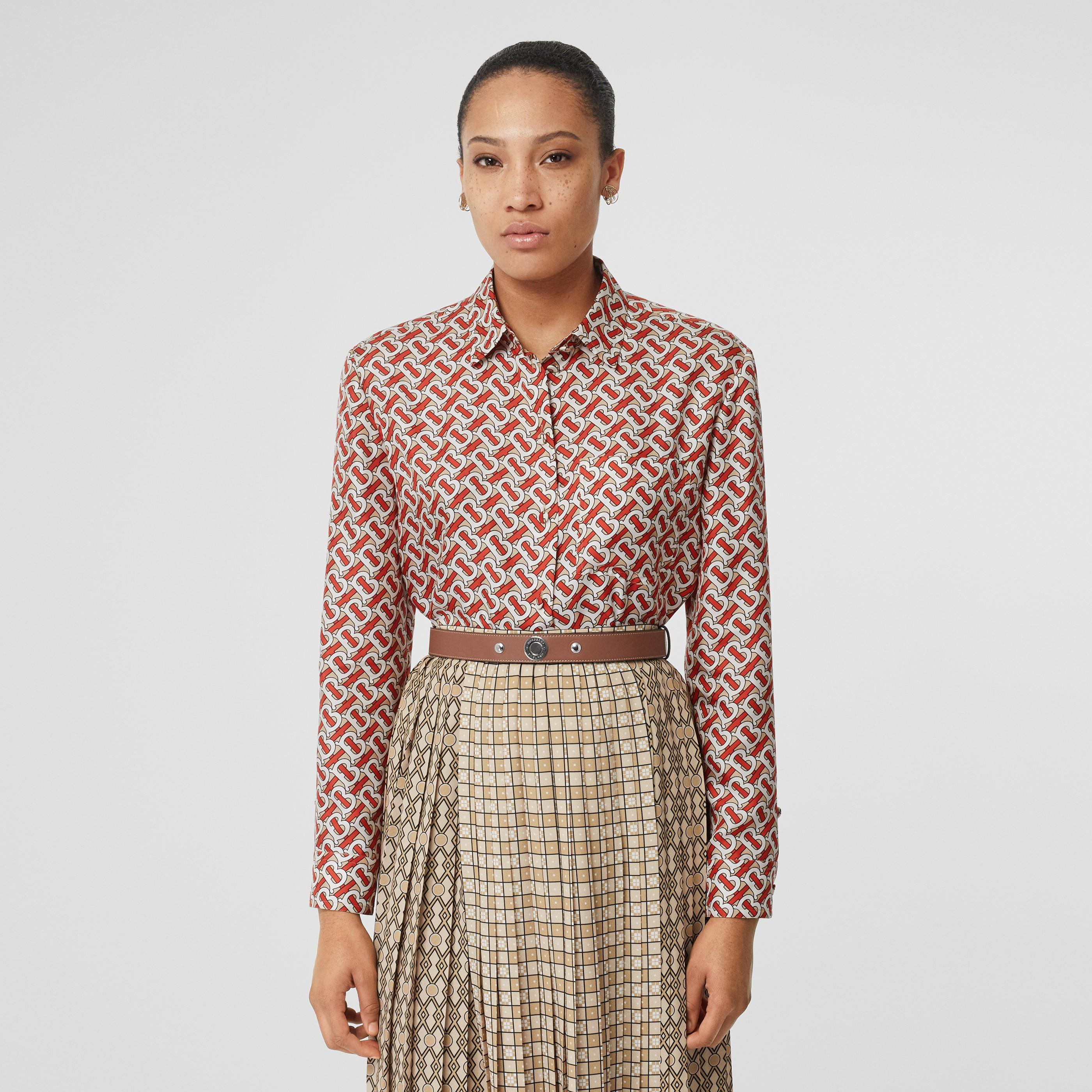 Camicia oversize in seta con stampa monogramma (Rosso Vermiglio) - Donna | Burberry - 1