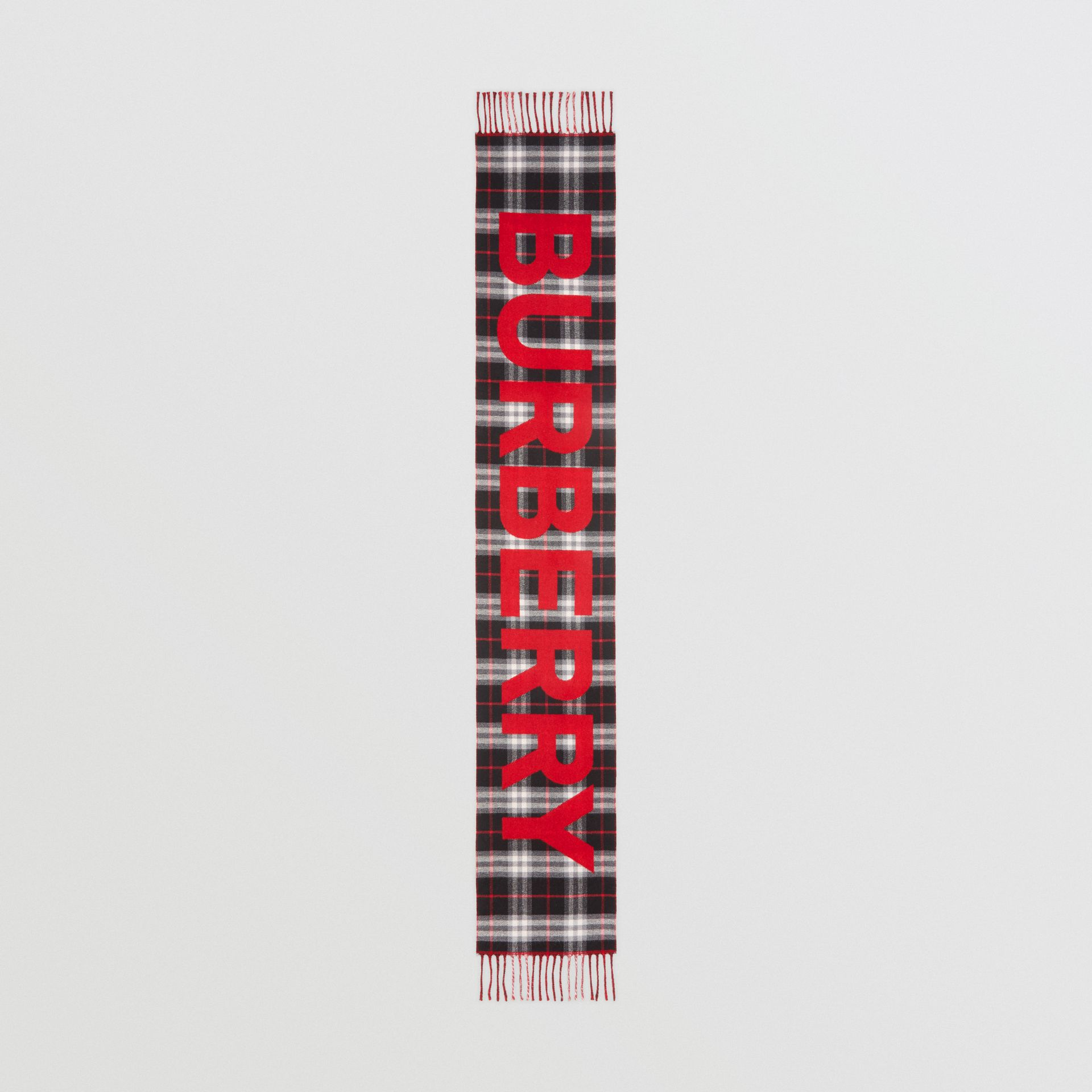 Logo Detail Vintage Check Wool Jacquard Scarf in Black - Children | Burberry Canada - gallery image 3