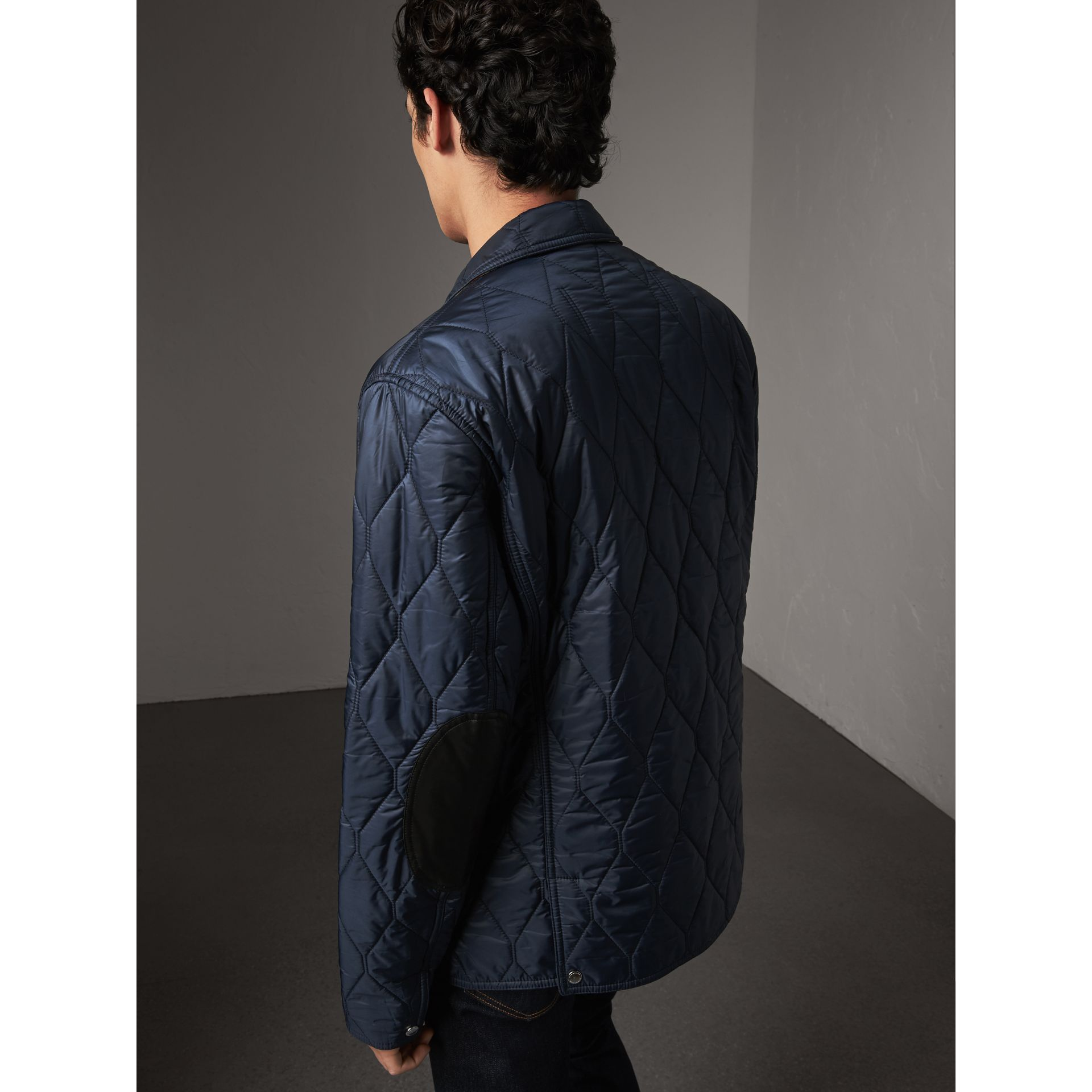 Lambskin Trim Quilted Blazer in Navy - Men | Burberry Australia - gallery image 2