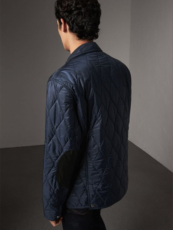 Lambskin Trim Quilted Blazer in Navy - Men | Burberry Australia - cell image 2