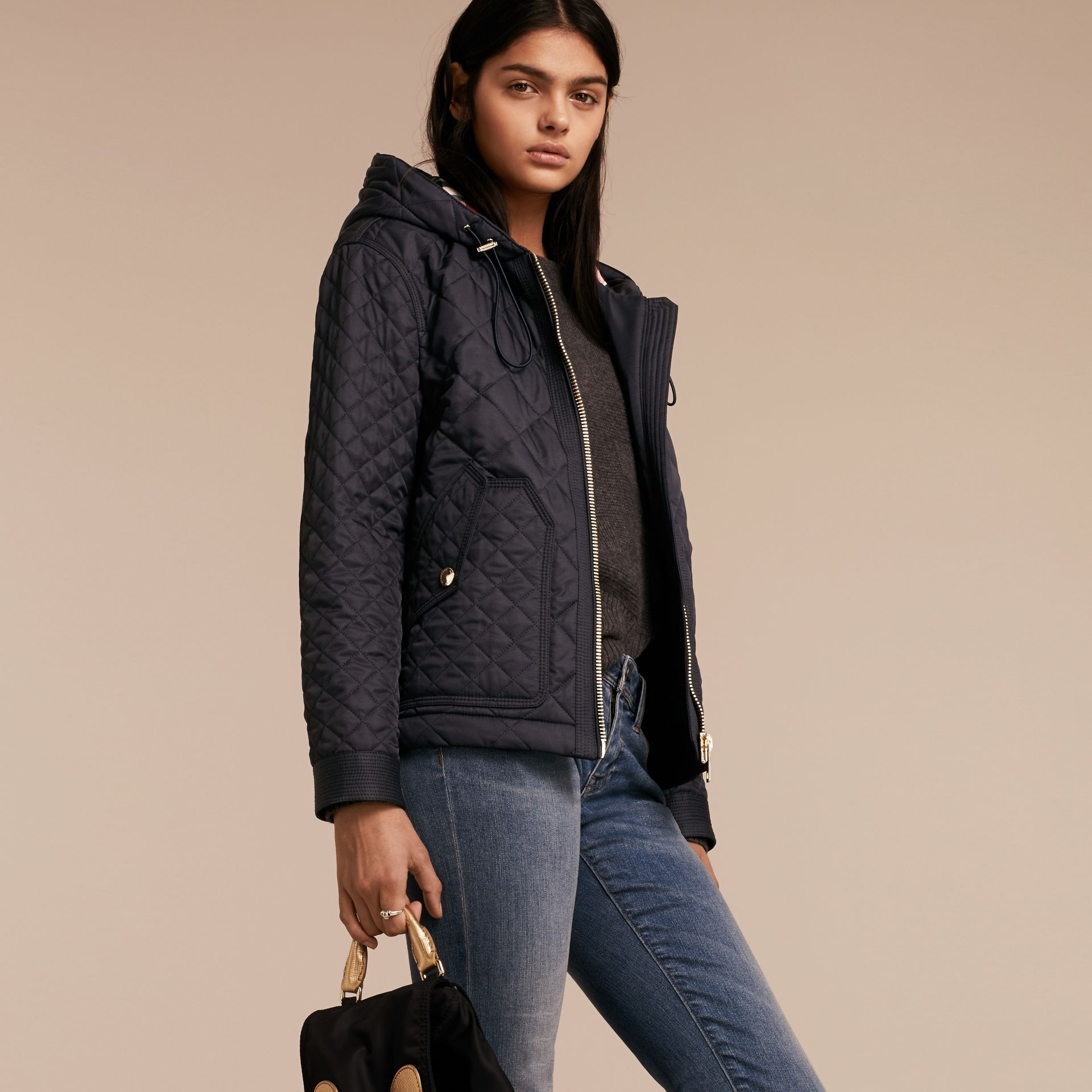 Diamond Quilted Hooded Jacket with Check Lining Navy - gallery image 6